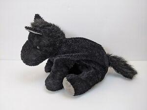 """Floppy Black/Gray Pony Horse Plush Stuffed Animal 12"""" Long USED"""