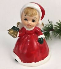 Wolin Japan Girl Red Holiday Christmas Dress Santa Hat Vintage Bell