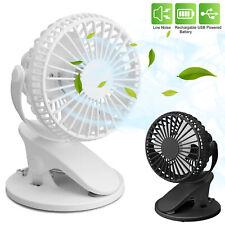 Portable Adjustable Clip Fan Cooling Mini USB Rechargeable Desk Baby Stroller US