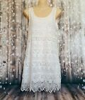 Sz 12 L H&M Women's White Floral Lace Summer Beach Casual Sleeveless Dress