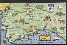 Maps Postcard - Map of South Devon and English Channel   RS1837