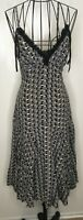 Stunning Ted Baker Silk Grey Black Patterned Strappy Dress Size 2 UK 10 Party