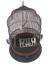 Vintage Hendryx Beehive Birdcage Black And Red Swing