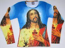 Jésus Christ Religion Tattoo Designer Super Star VIP Art Paillettes T-shirt G.S