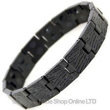 Homme Jais Noir Bracelet Magnétique en Titane Neuf 28