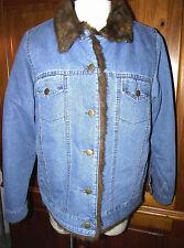 DENIM & CO Faux Fur Lined/Trimmed Jacket Size L