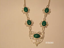 Ornate Turquoise Necklace 20 in. In Silver-Free Us Shipping