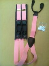 1 1/4 Polyester Elastic Pink 1.25 Wide Suspenders Braces Leather Ends 1.25 New
