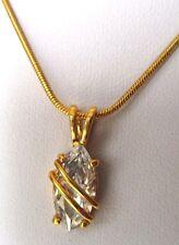 pendentif collier chaîne bijou vintage couleur or solitaire cristal diamant 592