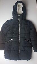 Next Girl's Black Hoodie Padded Faux Fur Winter Jacket Coat 8 Yrs Height 128 cm