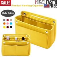 Women Felt Handbag Travel Insert Organizer Purse Tote Shaper Pouch Cosmetic Bag