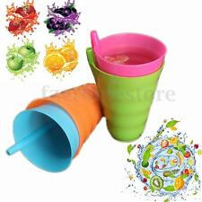 Kids Children Infant Baby SIP 4 Cup Set With Straw Mug Drink Tumbler Home Colors