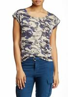 ZADIG & VOLTAIRE Blue Data Print Cap Sleeve Top M NEW WITH TAGS