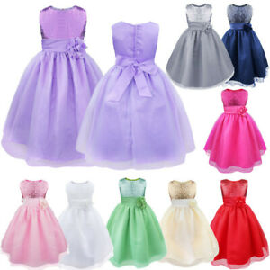 Flower Girls Dress Sequins Bridesmaid Wedding Pageant Gown Prom Princess Dresses