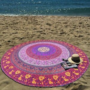 Indian Blanket Bohemian Mandala Round Beach Tapestry Throw Yoga Mat Towel