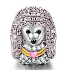 Pink Poodle Queen 925 Sterling Silver AAA CZ Enamel Animal Bead European Charms