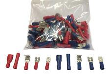 Male & Female Spade Connectors, Crimp Terminals 100 Pk Mixed Red, Blue, 12v