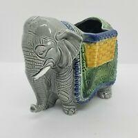 Vintage E.O. Brody Colorful Ceramic Elephant Planter Vase Cup Japan A-996 EUC