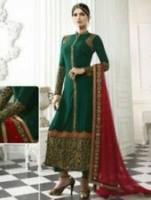 Green and Red Embroidered Georgette Salwar. Size 38. New