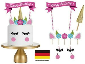 Einhorn Cake Torten Topper Kuchenstecker Happy Birthday Ohren Kuchendeko Set DE