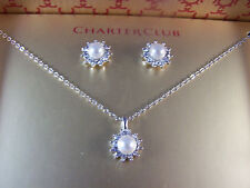 BOXED NECKLACE AND EARRINGS SET Simulated Pearls Surrounded by Crystals Silver-T