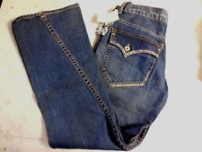 ONEILL Japanese Vintage Wash Womens Sz 32 Destressed Blue Jeans Wide Leg WT