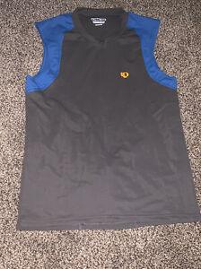 Pearl Izumi sleeveless cycling jersey 3/4 Zip Medium Gray & Blue