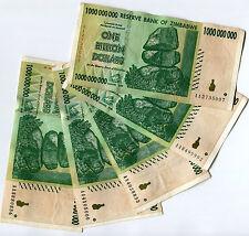 Zimbabwe 1 Billion Dollars x 5 pcs AA 2008 P83 VF currency bills