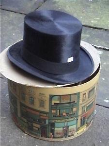 Antique Dobbs & Co Black Silk Top Hat Sz 7½ with Original card box RARE
