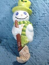 NOS CERAMIC GREEN/WHITE SNOWMAN STOCKING HOLDER / HANGER