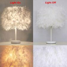 Elegant Feather Shade Table Desk Lamp Light Lighting LED Bedroom Home Desk Decor