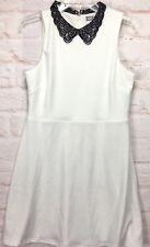 Asos Womans Peter Pan Neckline Dress Size 12 Tall White Black Ribbon Lace Cutout