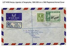 030: Kenya, Uganda, & Tanganyika, 1960 QEII on a 1962 Registered Airmail Cover
