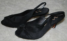 Nina High Heel Shoes Womens 8.5 MED Black Peep Toe Slingback Leather Suede Dress