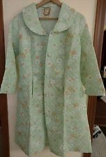 Robe House Coat Quilted Polyester Mint Green Floral Italian Kitsch Vtg New
