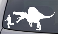 DINOSAUR CHASING GUY Vinyl Decal Sticker Car Window Wall Bumper Running Funny