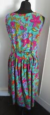 Vintage floral cotton button through dress 34/36""