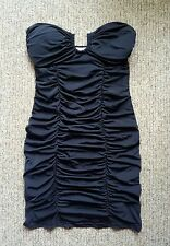 BRAND NEW FOXX FOE BLACK STRAPLESS RUCHED PADDED DIAMANTE MINI DRESS - Size 6