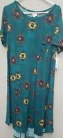 Lularoe Carly Dress 2XL Green Blue Southwest Print Swing Tee Shirt Hilo Hem NWT