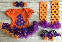 PERSONALISED 1ST HALLOWEEN TUTU ROMPER Witch Outfit Set Black Name 1st Halloween