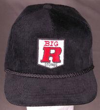 Vtg Big R Stores Hat-Corduroy-Rope Bill-Black-Embroidered-Trucker-Hook & Loop...