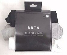 BURTON BRTN SLIM T-SHIRTS  3 PACK  SIZE: SMALL - COLORS BLACK, GRAY, WHITE - NEW