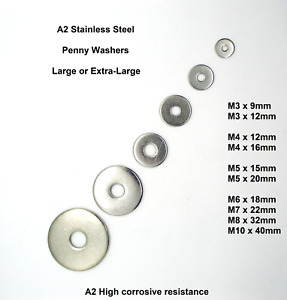 Penny Washers A2 Stainless-Steel  M3 M4 M5 M6 M7 M8 M10 Large/Extra-Large Repair