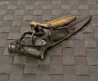 Japanese Antique Bronze Statues Mantis Sculpture Okimono Figurine Meiji Japan