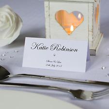 Personalised wedding place cards name cards white ivory kraft diamante handmade