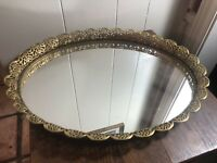 Vintage Gold Filigree Ormolu OVAL Vanity Tray/Mirror Scallop Edge 13 x 17