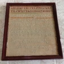 "Antique c.1867 Needlepoint Alphabet Sampler ""St. Ann's School"" Victorian #683"