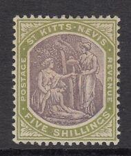 ST KITTS, NEVIS COLUMBUS  5/-   purple & green SG10 -  mounted mint