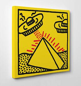 👽 Quadro Pannello Haring UFO Poster Stampa su Tela Vernice Pennellate 🖌