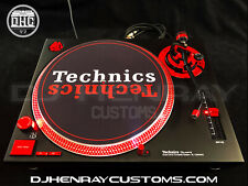 2 custom Matte black & red Technics SL 1200 mk2's red leds laser etch logos